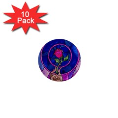 Enchanted Rose Stained Glass 1  Mini Magnet (10 pack)