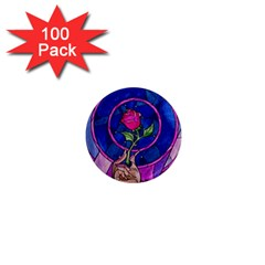 Enchanted Rose Stained Glass 1  Mini Magnets (100 Pack)