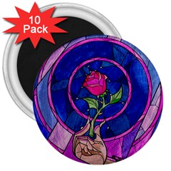 Enchanted Rose Stained Glass 3  Magnets (10 pack)