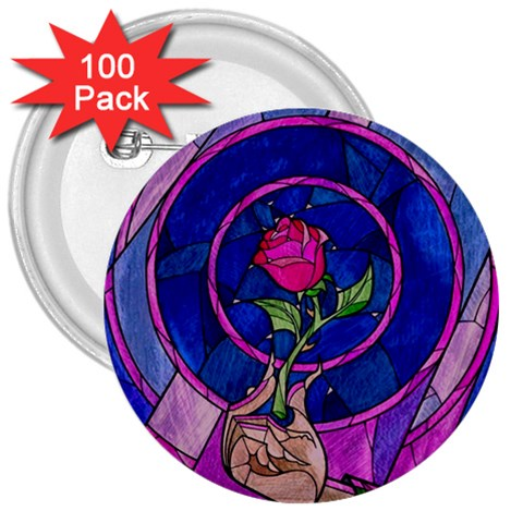 Enchanted Rose Stained Glass 3  Buttons (100 pack)