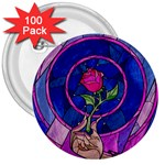 Enchanted Rose Stained Glass 3  Buttons (100 pack)  Front