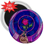 Enchanted Rose Stained Glass 3  Magnets (100 pack) Front