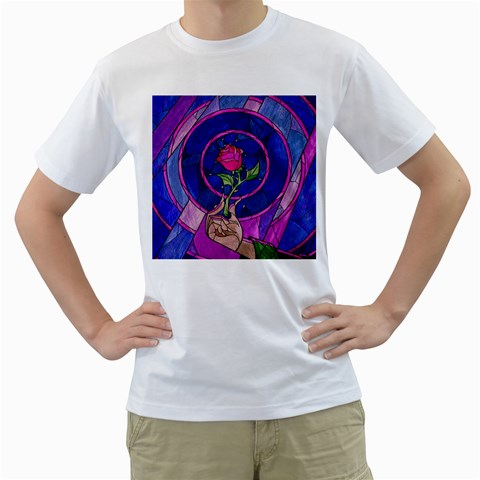 Enchanted Rose Stained Glass Men s T-Shirt (White) (Two Sided)