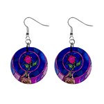 Enchanted Rose Stained Glass Mini Button Earrings Front