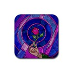Enchanted Rose Stained Glass Rubber Square Coaster (4 pack)  Front