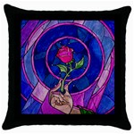 Enchanted Rose Stained Glass Throw Pillow Case (Black) Front