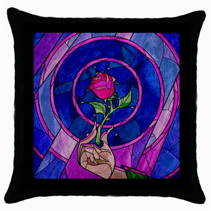 Enchanted Rose Stained Glass Throw Pillow Case (Black)