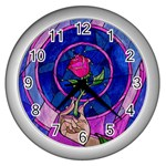 Enchanted Rose Stained Glass Wall Clocks (Silver)  Front