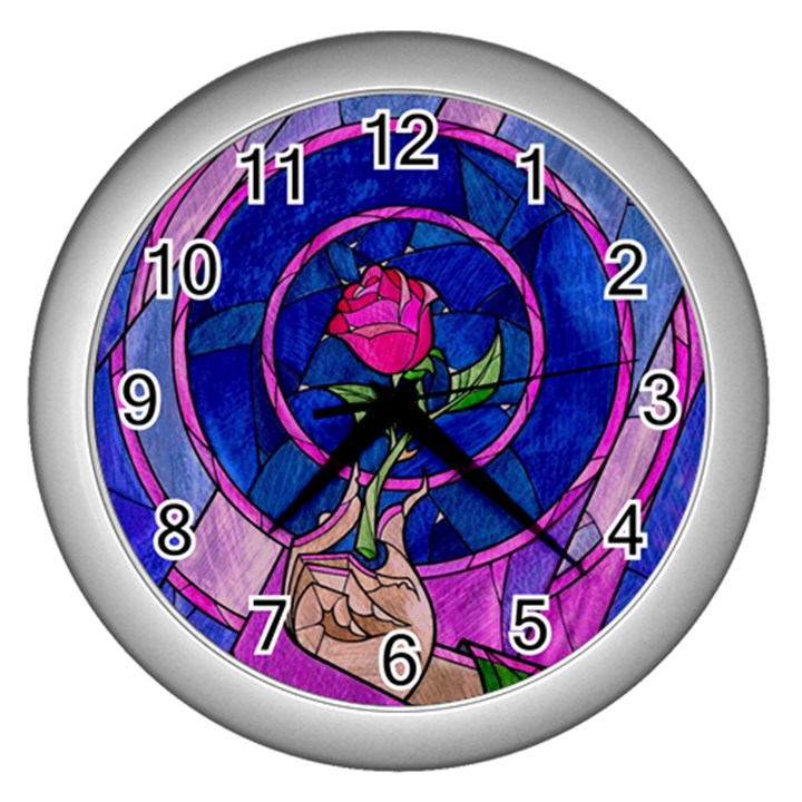 Enchanted Rose Stained Glass Wall Clocks (Silver)