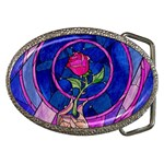 Enchanted Rose Stained Glass Belt Buckles Front