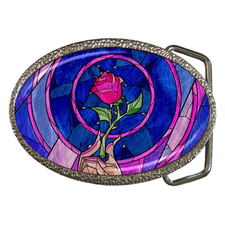 Enchanted Rose Stained Glass Belt Buckles