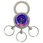 Enchanted Rose Stained Glass 3-Ring Key Chains Front