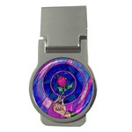 Enchanted Rose Stained Glass Money Clips (Round)  Front