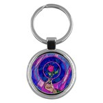 Enchanted Rose Stained Glass Key Chains (Round)  Front