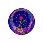 Enchanted Rose Stained Glass Rubber Round Coaster (4 pack)  Front