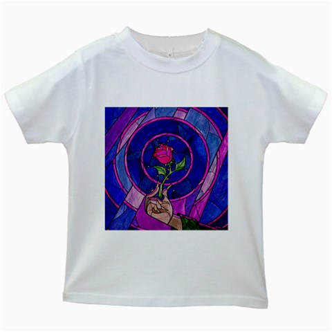 Enchanted Rose Stained Glass Kids White T-Shirts