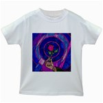 Enchanted Rose Stained Glass Kids White T-Shirts Front