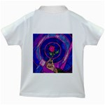 Enchanted Rose Stained Glass Kids White T-Shirts Back