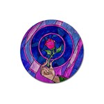 Enchanted Rose Stained Glass Magnet 3  (Round) Front
