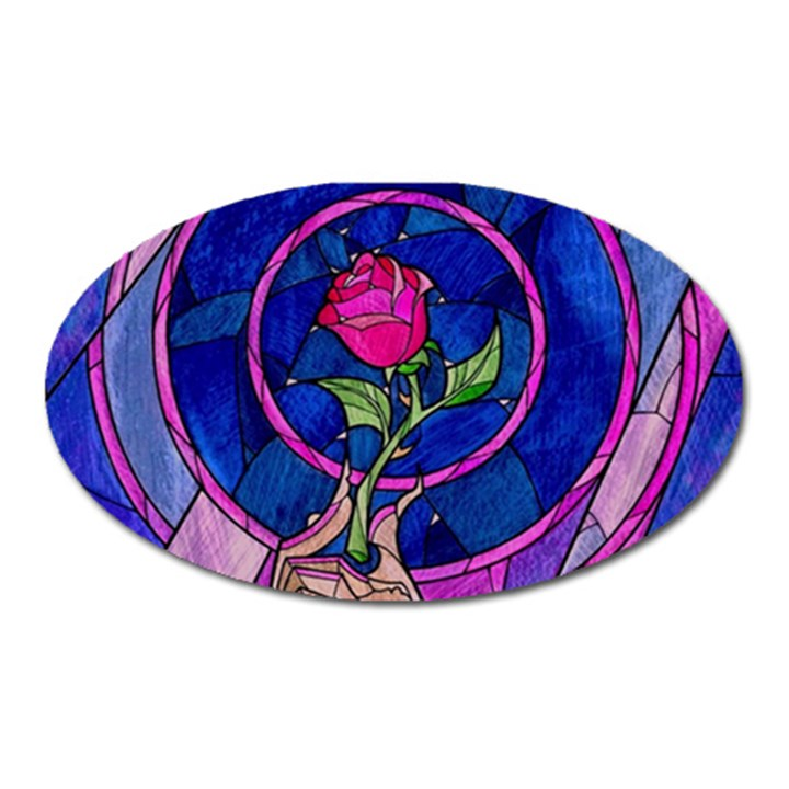 Enchanted Rose Stained Glass Oval Magnet