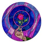 Enchanted Rose Stained Glass Magnet 5  (Round) Front