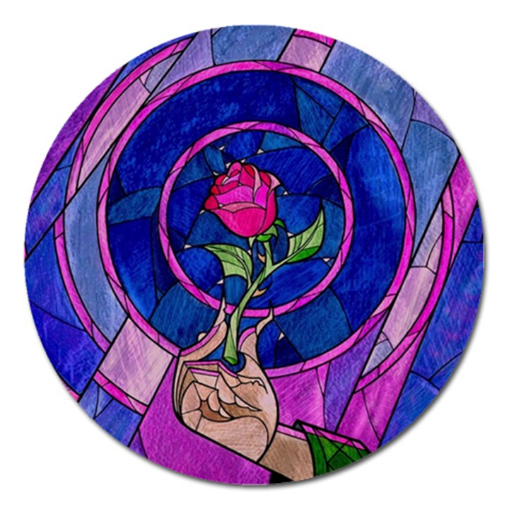 Enchanted Rose Stained Glass Magnet 5  (Round)