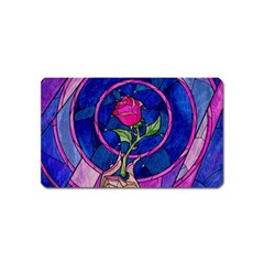 Enchanted Rose Stained Glass Magnet (Name Card)