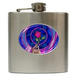 Enchanted Rose Stained Glass Hip Flask (6 oz) Front