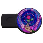 Enchanted Rose Stained Glass USB Flash Drive Round (1 GB)  Front