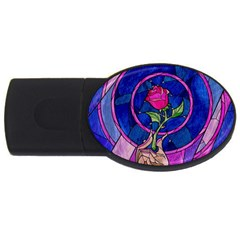 Enchanted Rose Stained Glass Usb Flash Drive Oval (2 Gb)