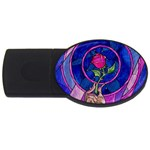 Enchanted Rose Stained Glass USB Flash Drive Oval (1 GB)  Front
