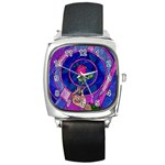 Enchanted Rose Stained Glass Square Metal Watch Front