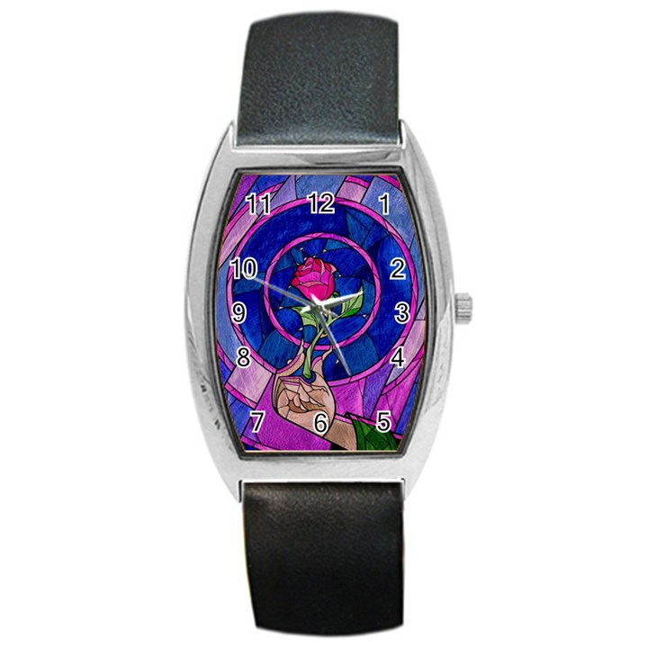 Enchanted Rose Stained Glass Barrel Style Metal Watch