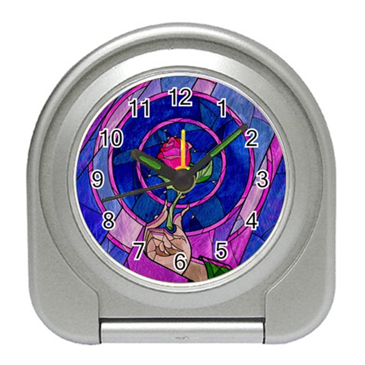 Enchanted Rose Stained Glass Travel Alarm Clocks