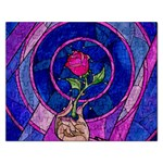 Enchanted Rose Stained Glass Rectangular Jigsaw Puzzl Front