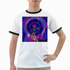 Enchanted Rose Stained Glass Ringer T Shirts