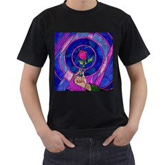 Enchanted Rose Stained Glass Men s T-Shirt (Black) (Two Sided)