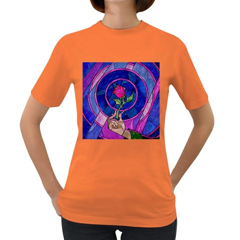 Enchanted Rose Stained Glass Women s Dark T-Shirt