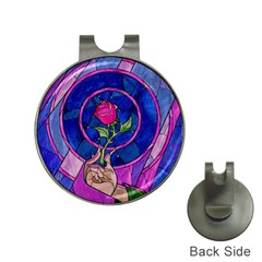 Enchanted Rose Stained Glass Hat Clips with Golf Markers