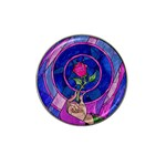 Enchanted Rose Stained Glass Hat Clip Ball Marker Front