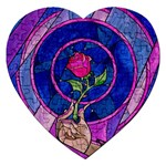 Enchanted Rose Stained Glass Jigsaw Puzzle (Heart) Front