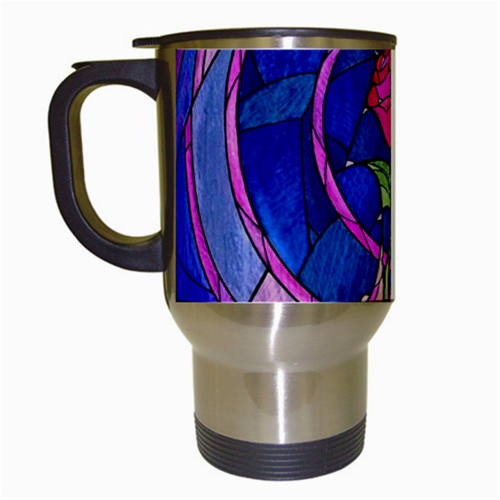 Enchanted Rose Stained Glass Travel Mugs (White)