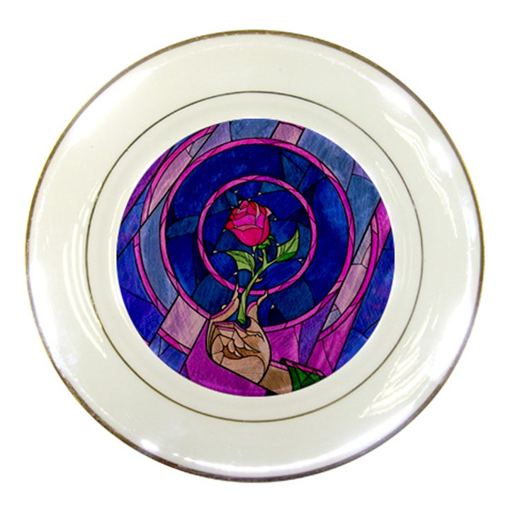 Enchanted Rose Stained Glass Porcelain Plates