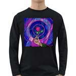 Enchanted Rose Stained Glass Long Sleeve Dark T-Shirts Front