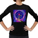 Enchanted Rose Stained Glass Women s Long Sleeve Dark T-Shirts Front