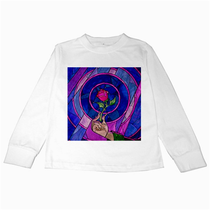 Enchanted Rose Stained Glass Kids Long Sleeve T-Shirts