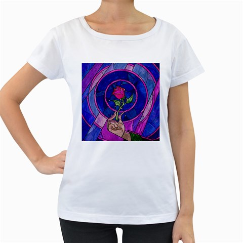 Enchanted Rose Stained Glass Women s Loose-Fit T-Shirt (White)