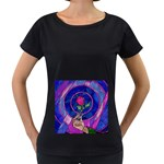 Enchanted Rose Stained Glass Women s Loose-Fit T-Shirt (Black) Front
