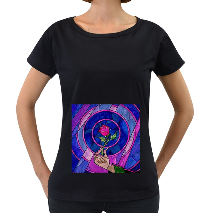 Enchanted Rose Stained Glass Women s Loose-Fit T-Shirt (Black)