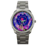 Enchanted Rose Stained Glass Sport Metal Watch Front
